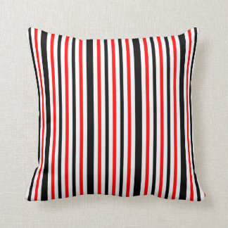 Red White and Black Stripes Throw Pillow