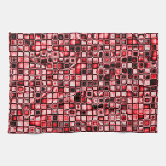 Red, White And Black Textured Grid Pattern Kitchen Towel