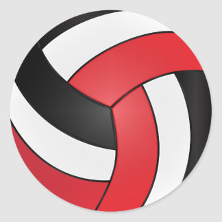 Red, White and Black Volleyball Classic Round Sticker
