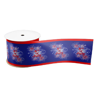 Red, White and Blue 4th of July Fireworks 3 Inch Satin Ribbon