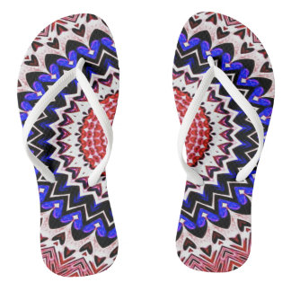 Red White and Blue 4th of July Mandala Pattern Flip Flops