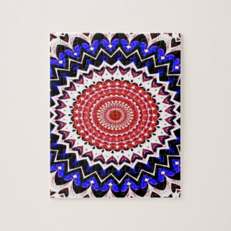 Red White and Blue 4th of July Mandala Pattern Jigsaw Puzzle