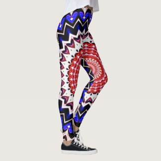Red White and Blue 4th of July Mandala Pattern Leggings