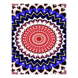 Red White and Blue 4th of July Mandala Pattern Letterhead