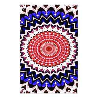 Red White and Blue 4th of July Mandala Pattern Stationery