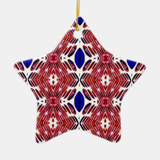 Red White and Blue 4th of July Tribal Pattern Ceramic Ornament