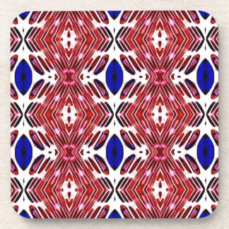 Red White and Blue 4th of July Tribal Pattern Coaster