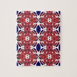 Red White and Blue 4th of July Tribal Pattern Jigsaw Puzzle