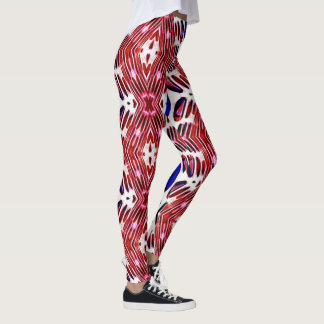 Red White and Blue 4th of July Tribal Pattern Leggings
