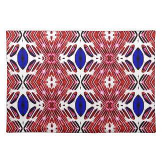 Red White and Blue 4th of July Tribal Pattern Placemat