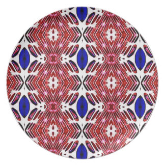 Red White and Blue 4th of July Tribal Pattern Plate