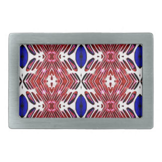Red White and Blue 4th of July Tribal Pattern Rectangular Belt Buckle