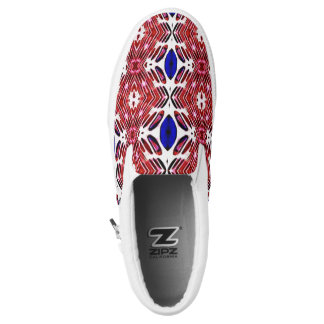 Red White and Blue 4th of July Tribal Pattern Slip-On Sneakers