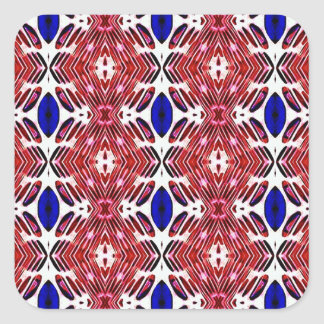 Red White and Blue 4th of July Tribal Pattern Square Sticker