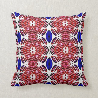 Red White and Blue 4th of July Tribal Pattern Throw Pillow