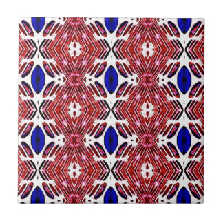 Red White and Blue 4th of July Tribal Pattern Tile