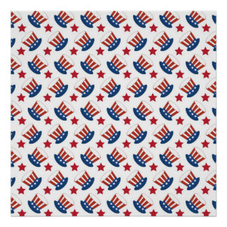 Red White and Blue All American Pattern Poster