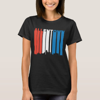 Red White And Blue Allentown Pennsylvania Skyline T-Shirt