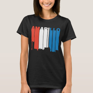 Red White And Blue Amarillo Texas Skyline T-Shirt