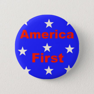 "Red, White, And Blue ""America First"" Design 2 Inch Round Button"