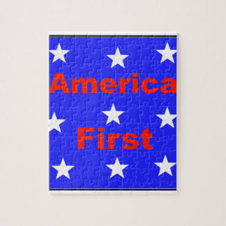 "Red, White, And Blue ""America First"" Design Jigsaw Puzzle"