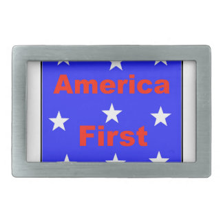 "Red, White, And Blue ""America First"" Design Rectangular Belt Buckles"