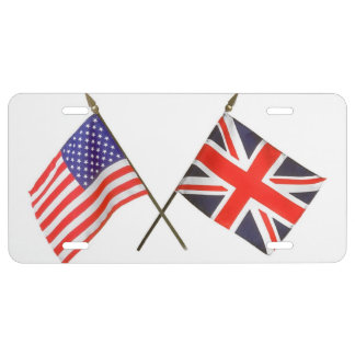 Red White and Blue American and British Flag License Plate