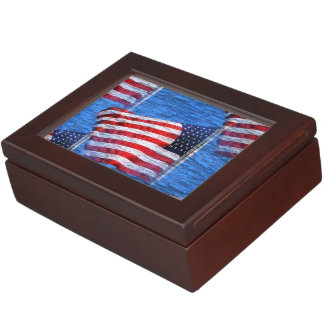 Red White and Blue American Flag Keepsake Box