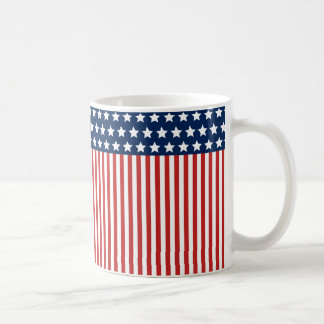 Red White and Blue American Flag Pattern Classic White Coffee Mug