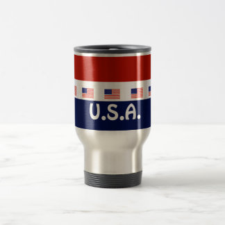 red White and Blue American Flag Stainless Steel Travel Mug