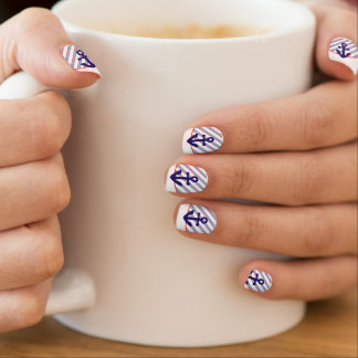 Red, White, and Blue Anchors Aweigh French Tip Nails Sticker