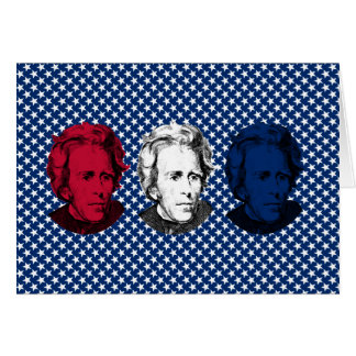 Red, White, and Blue -- Andrew Jackson with Stars Greeting Card
