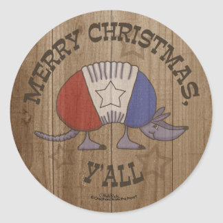 Red, White and Blue Armadillo-Merry Christmas Y'al Round Sticker