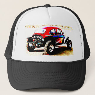 red white and blue baja bug in all categories trucker hat