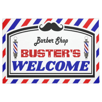 Red White and Blue Barbershop Doormat