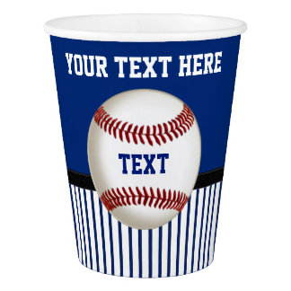 Red White and Blue Baseball Cups PERSONALIZED Paper Cup
