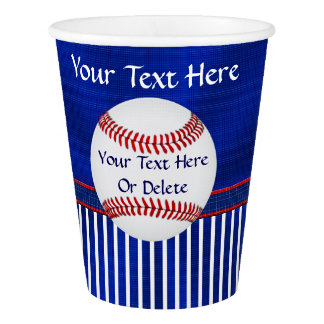 Red, White and Blue Baseball Paper Cups YOUR TEXT Paper Cup