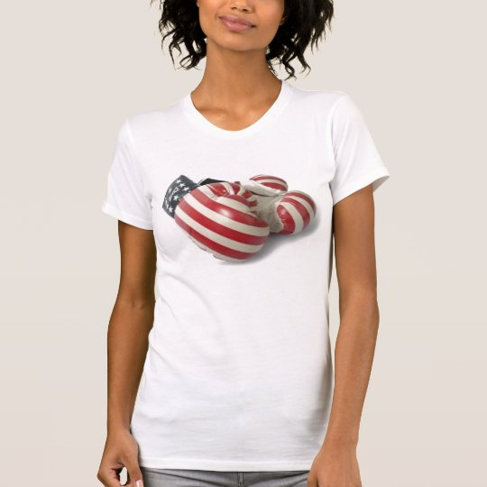 RED WHITE AND BLUE BOXING GLOVES T SHIRT