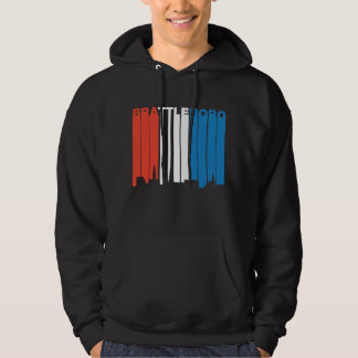 Red White And Blue Brattleboro Vermont Skyline Hoodie