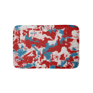 Red, White and Blue Brushstrokes Bathroom Mat