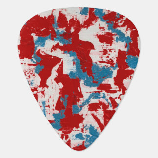 Red, White and Blue Brushstrokes Guitar Pick