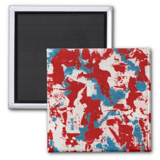 Red, White and Blue Brushstrokes Square Magnet