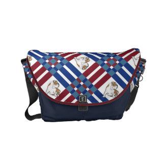 Red White and Blue Bulldog Messenger Bag