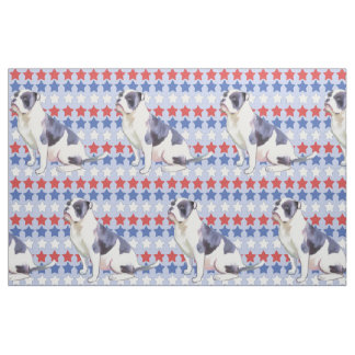 Red white and Blue bulldog with Stars Fabric