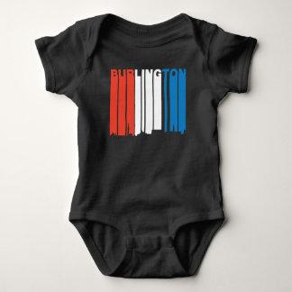 Red White And Blue Burlington Vermont Skyline Baby Bodysuit