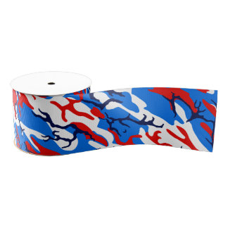 Red White and Blue Camo Grosgrain Ribbon