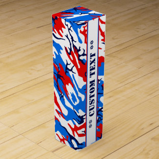 Red White and Blue Camo w/ Custom Text Wine Box