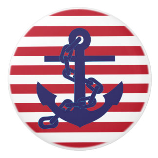 Red White and Blue Chain Anchors Away Ceramic Knob