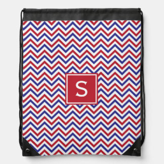 Red White and Blue Chevron Drawstring Bag