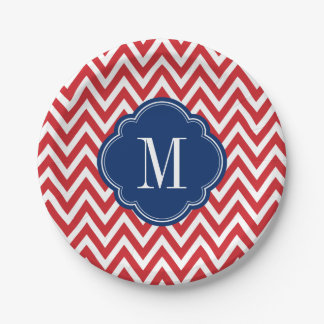 Red White and Blue Chevron Monogram 7 Inch Paper Plate